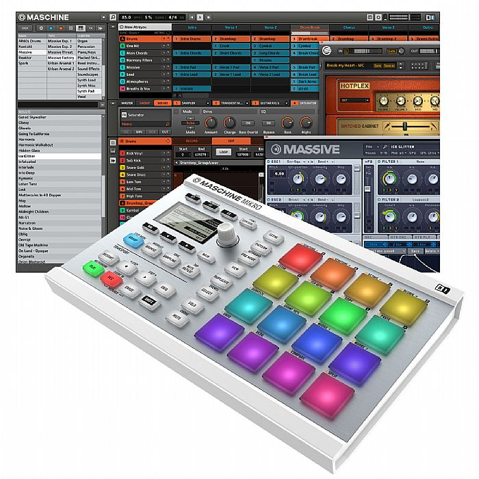 NATIVE INSTRUMENTS - Native Instruments Maschine Mikro MkII Groove Production Studio (white) With Massive & Komplete Elements Software