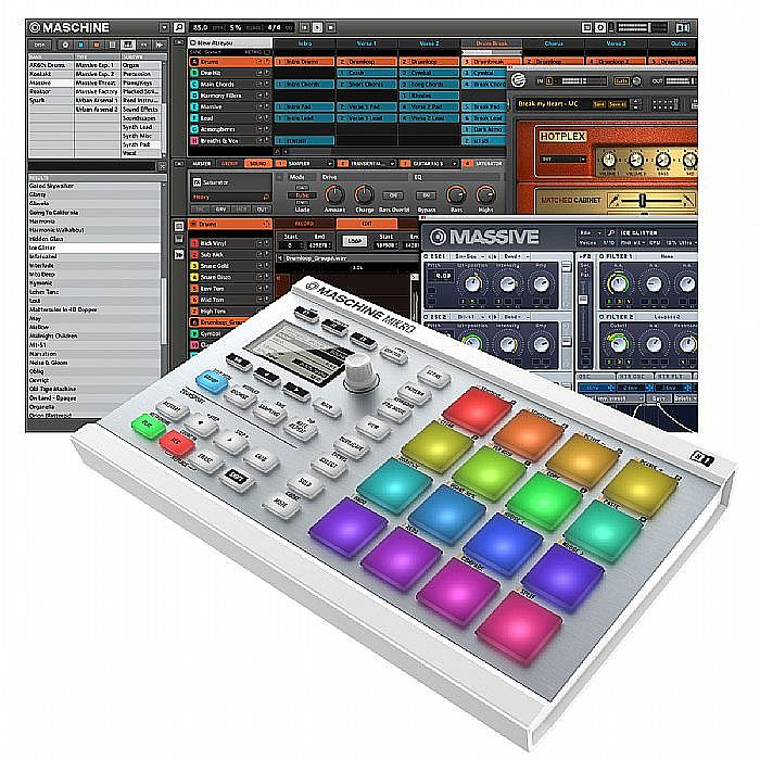 NATIVE INSTRUMENTS/DECKSAVER - Native Instruments Maschine Mikro MKII (white) With Massive & Komplete Elements Software + Decksaver Cover (smoked clear)
