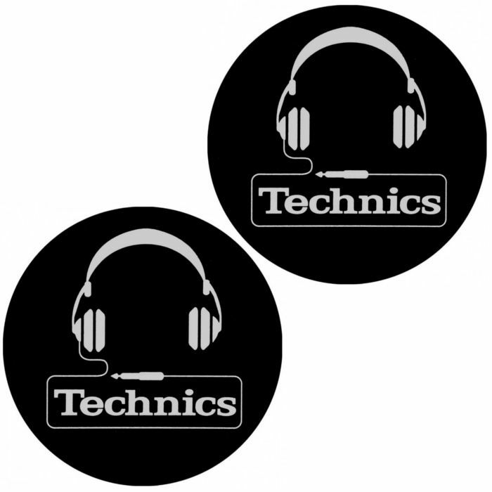 TECHNICS - Technics Headphones Slipmats (pair, black & silver)