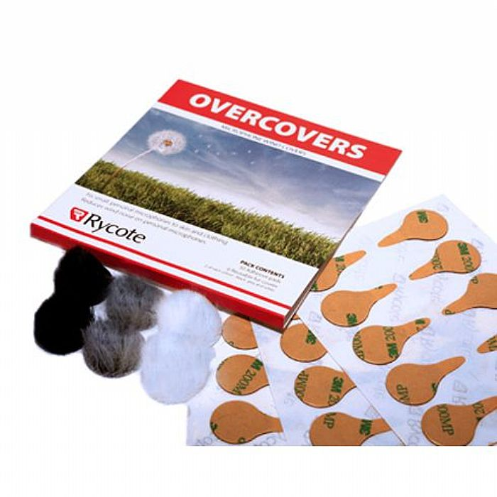 RYCOTE - Rycote Overcovers Lavalier Wind Covers & Stickies (30 Stickies & 6 re-useable fur covers, includes 2 of each colour: white, grey & black)