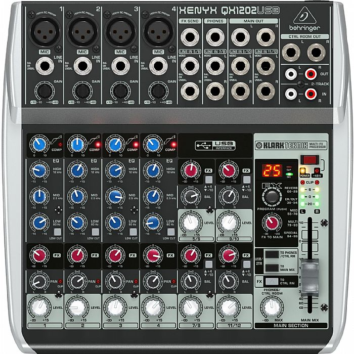 BEHRINGER - Behringer QX1202 USB Xenyx 12 Input, 2 Bus Mixer + Tracktion Audio Production Software