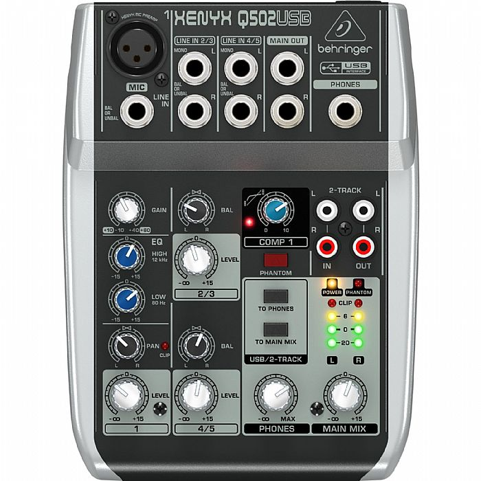 BEHRINGER - Behringer Q502 USB Xenyx Premium 5 Input, 2 Bus Mixer With Traktion 4 Audio Production Software