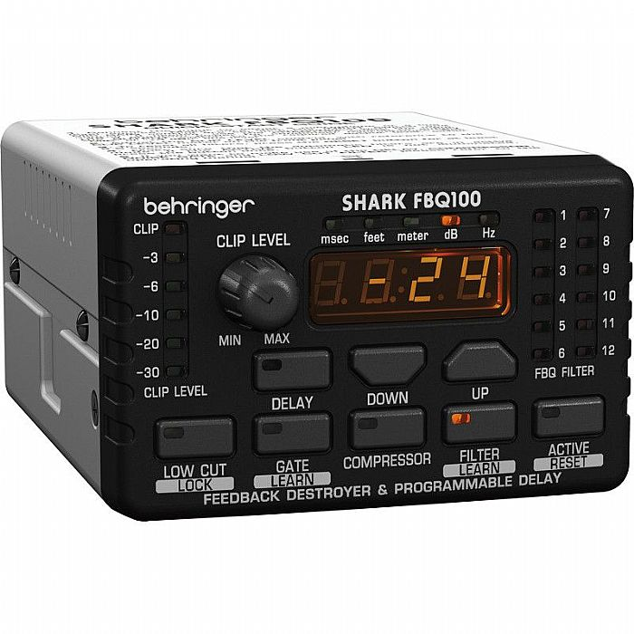 BEHRINGER - Behringer FBQ100 Shark Automatic Feedback Destroyer with Integrated Microphone Preamp, Delay Line, Noise Gate and Compressor