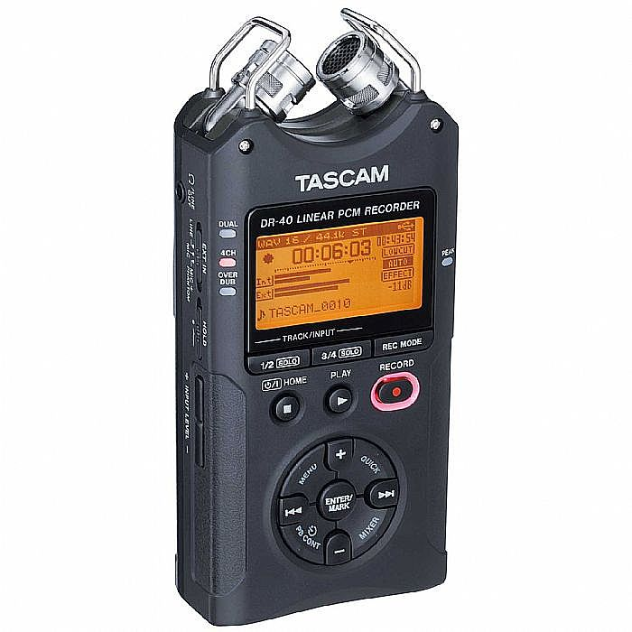 TASCAM - Tascam DR40 4 Track Digital Audio Recorder + Tascam RC10 Remote Control For DR40 & DR100 MKII Portable Digital Recorders