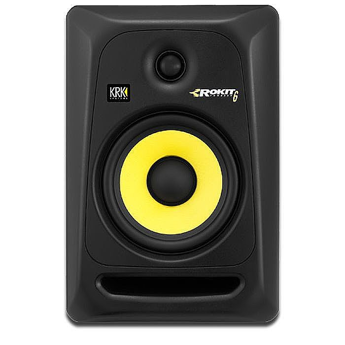 KRK - KRK Rokit RP6 G3 Active Studio Monitor Speaker (single, black with yellow cone)