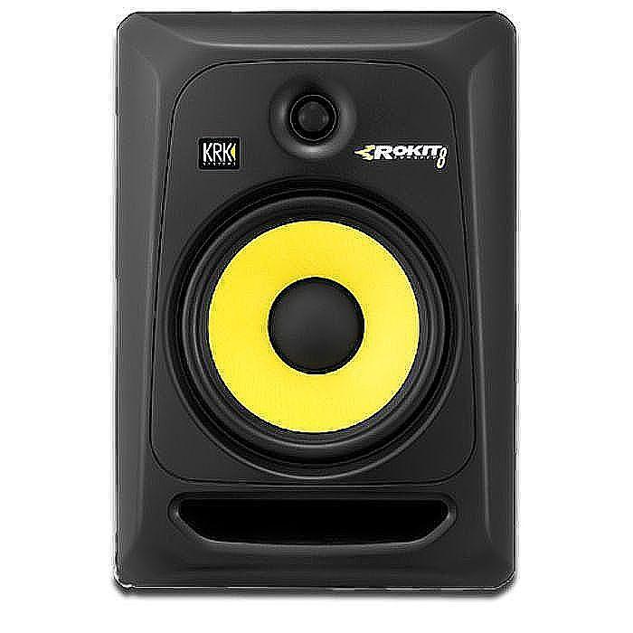 KRK - KRK Rokit RP8 G3 Active Studio Monitor Speaker (single, black with yellow cone)