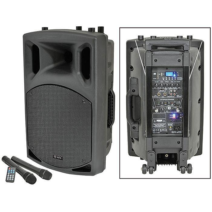 QTX - QTX QX12PA Portable PA Unit With USB SD FM Player & Bluetooth & 2 Wireless Microphones