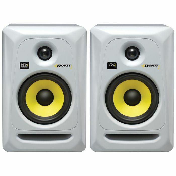 KRK - KRK Rokit RP5 G3 Active Studio Monitor Speakers (pair, white with yellow cones)