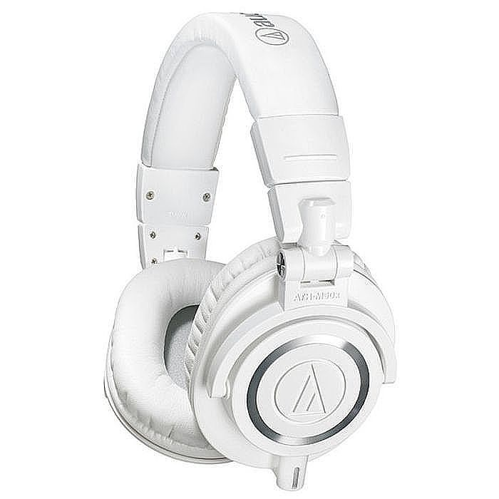 AUDIO TECHNICA - Audio Technica ATH M50X Headphones (white, includes interchangeable straight & coiled cables)