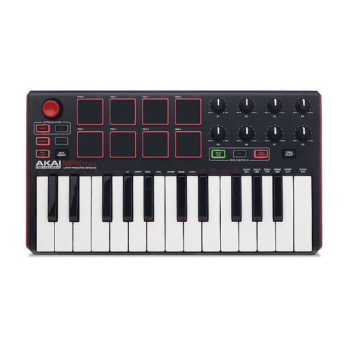 AKAI - Akai MPK Mini Mk2 Performance USB MIDI Pad & 25 Key Keyboard Controller With Production Software Package