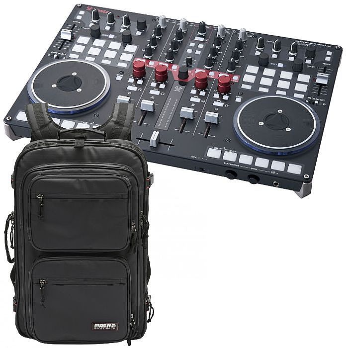 Vestax VCI400 Professional MIDI & Audio USB DJ Controller With Virtual DJ  LE Software and Serato DJ Free Upgrade (black) + Magma Riot DJ Backpack XL