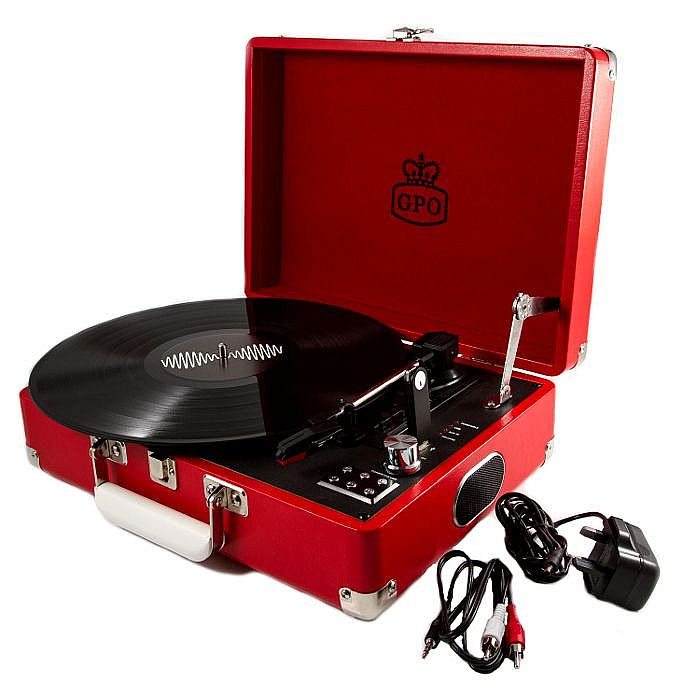 GPO - GPO Attache USB Turntable With USB Stick Included (pillarbox red)