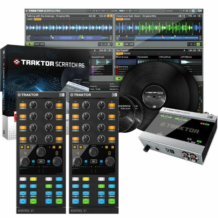 NATIVE INSTRUMENTS - Native Instruments Traktor Scratch A6 Digital Vinyl System + Pair Of Traktor Kontrol X1 MK2 Performance DJ Controllers (SPECIAL LOW PRICE BUNDLE)