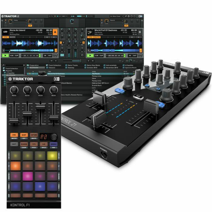 NATIVE INSTRUMENTS - Native Instruments Traktor Kontrol Z1 DJ Mixing Interface + Traktor Kontrol F1 DJ Remix Controller