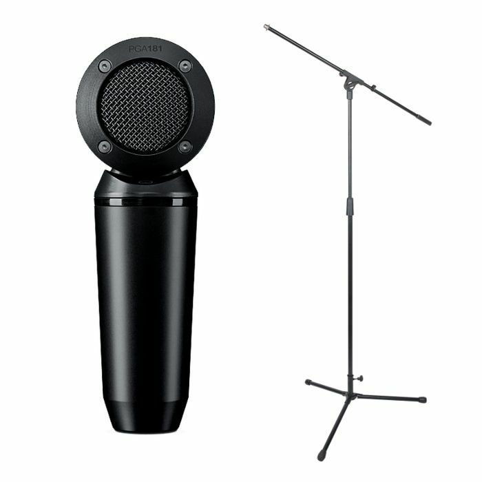 SHURE - Shure PGA181 XLR Side Address Cardioid Condenser Microphone + FREE Height Adjustable Microphone Stand With Boom Arm (black)