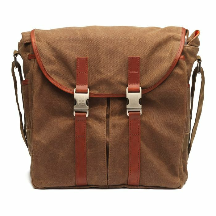 TUCKER & BLOOM - Tucker & Bloom Waxed Canvas Edition North To South Messenger DJ Record Bag (tan with orange interior)