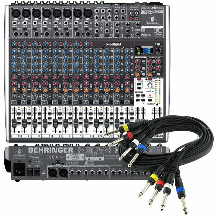 BEHRINGER/4 WAY JACK WIRING LOOM - Behringer Xenyx X2222 USB Mixer With Tracktion Recording Software + 4 Way 1/4