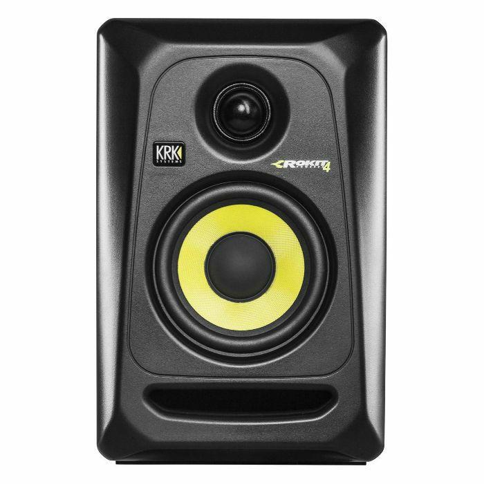 KRK - KRK Rokit RP4 G3 Active Studio Monitor Speaker (single, black with yellow cone)