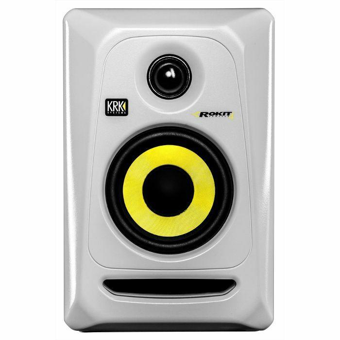 KRK - KRK Rokit RP4 G3 Active Studio Monitor Speaker (single, white with yellow cone)