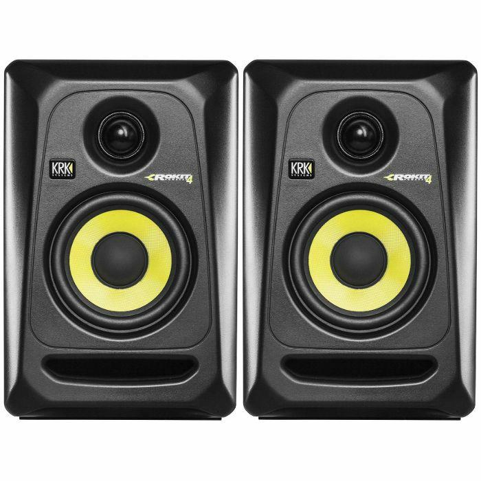 KRK - KRK Rokit RP4 G3 Active Studio Monitor Speakers (pair, black with yellow cone)