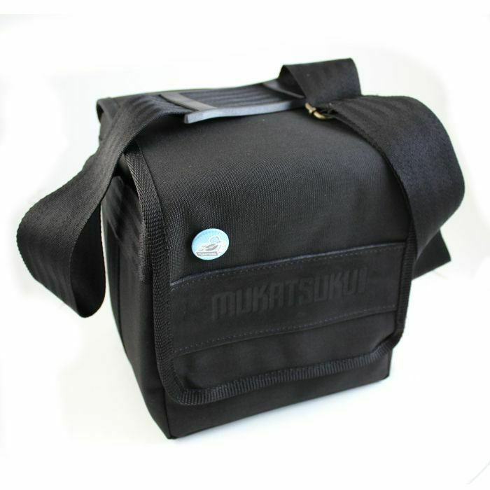 MUKATSUKU - Mukatsuku Records Are Our Friends Cordura 7 Inch 45 Record Bag (black with embossed vintage black leather patch, holds 80 x 7'' singles) (Juno exclusive)