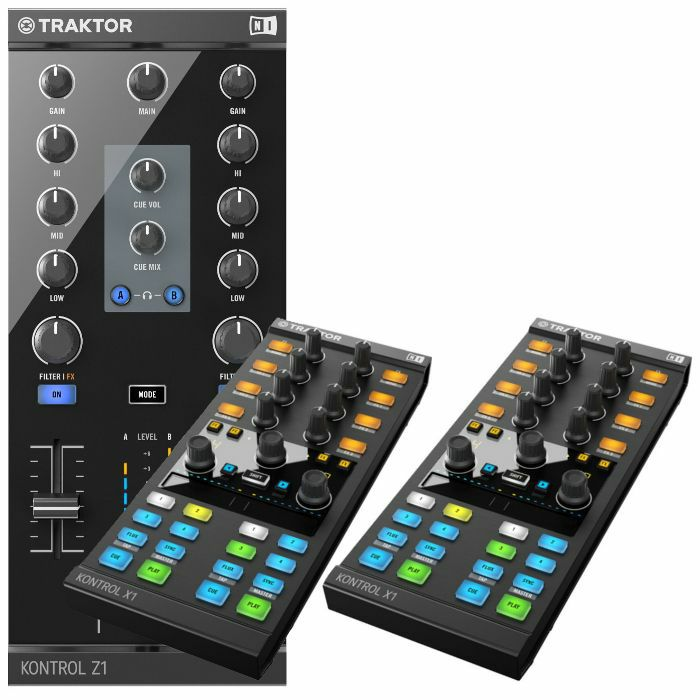NATIVE INSTRUMENTS - Native Instruments Traktor Kontrol Z1 DJ Mixing Interface + Pair Of Traktor Kontrol X1 MK2 Performance DJ Controllers