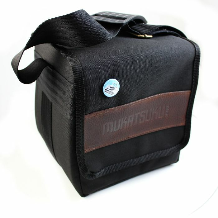 MUKATSUKU - Mukatsuku Records Are Our Friends Cordura 7 Inch 45 Record Bag (black with embossed vintage brown leather patch, holds 80 x 7'' singles) (Juno exclusive)