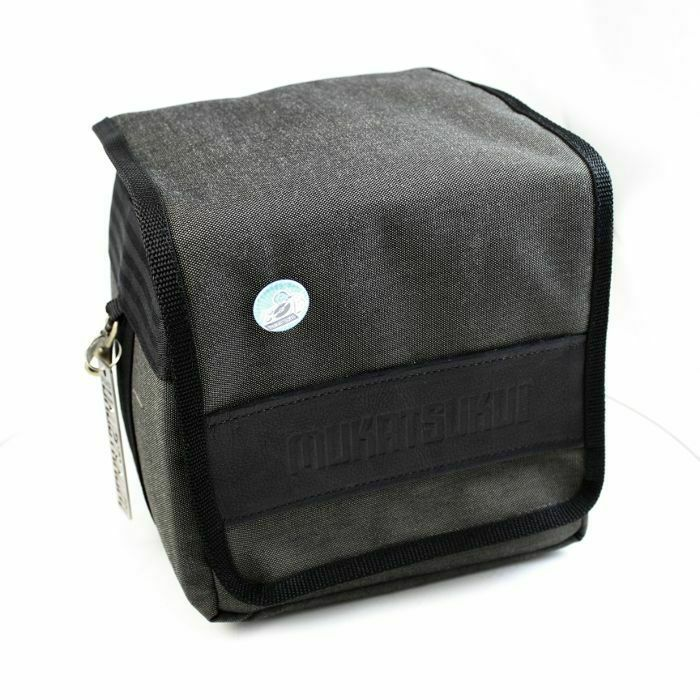 MUKATSUKU - Mukatsuku Records Are Our Friends 7 Inch 45 Record Bag (charcoal with embossed vintage black leather patch, holds up to 80 x 7'' singles) (Juno Exclusive)