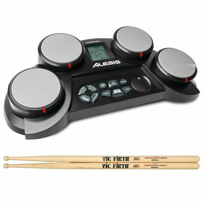 ALESIS/VIC FIRTH - Alesis CompactKit 4 Tabletop Electronic Drum Kit + Vic Firth American Classic eStick Wood Tip Drum Sticks (pair) *REDUCED PRICE BUNDLE*