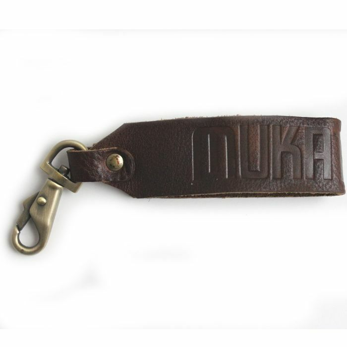 MUKATSUKU - Mukatsuku Records Vintage Leather Embossed Keyring With Brass Coloured Fob (Juno exclusive)