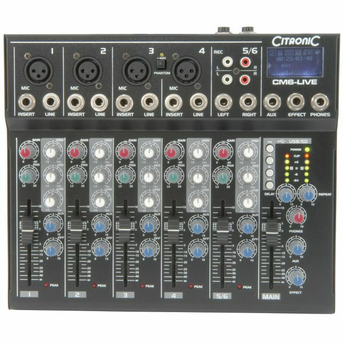 citronic citronic cm6 live compact mixer with delay usb sd player vinyl at juno records. Black Bedroom Furniture Sets. Home Design Ideas