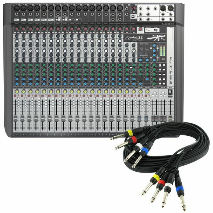 SOUNDCRAFT - Soundcraft Signature 22 MTK Analog Mixer With Onboard Effects & Multi Channel USB Audio Interface + FREE 4 Way 1/4