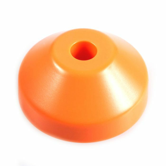 SPINDLE ADAPTER CENTER - Spindle Adapter Center For Playing 45 RPM Records (orange plastic, cone-shaped)
