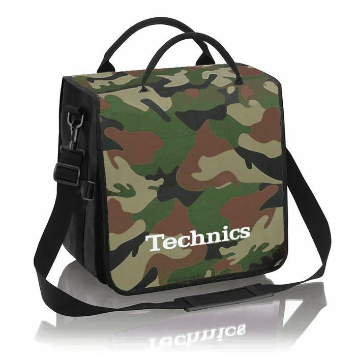 TECHNICS - Technics Backpack 12 Inch LP Vinyl Record Bag 20 (green camo with white logo)