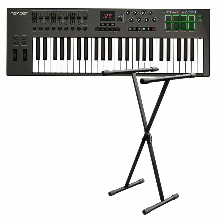 Nektar Impact LX49+ USB MIDI Controller Keyboard With Bitwig 8 Track  Software + FREE 5 Position X Foldable Frame Keyboard Stand (black)