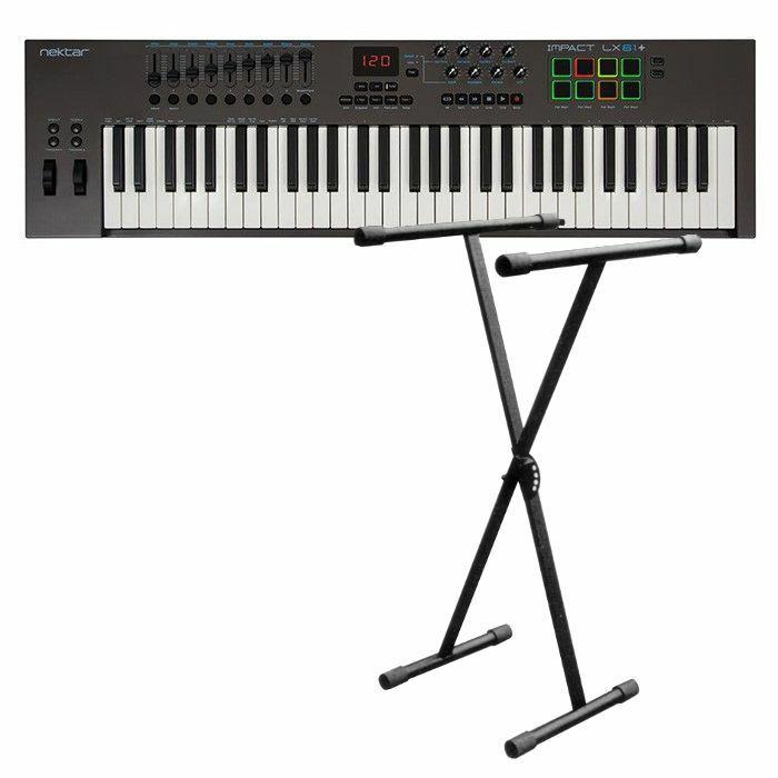 NEKTAR/NEW JERSEY SOUND - Nektar Impact LX61+ USB MIDI Controller Keyboard With Bitwig 8 Track Software + FREE 5 Position X Foldable Frame Keyboard Stand (black)