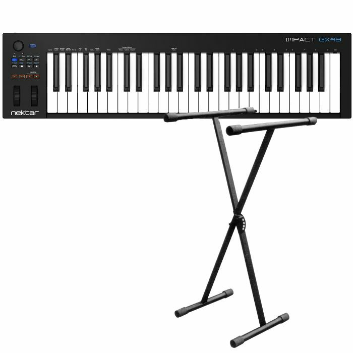 NEKTAR/NEW JERSEY SOUND - Nektar Impact GX49 USB MIDI Controller Keyboard With Bitwig 8Track Software Included + 5 Position X Foldable Frame Keyboard Stand (black) (REDUCED PRICE BUNDLE)