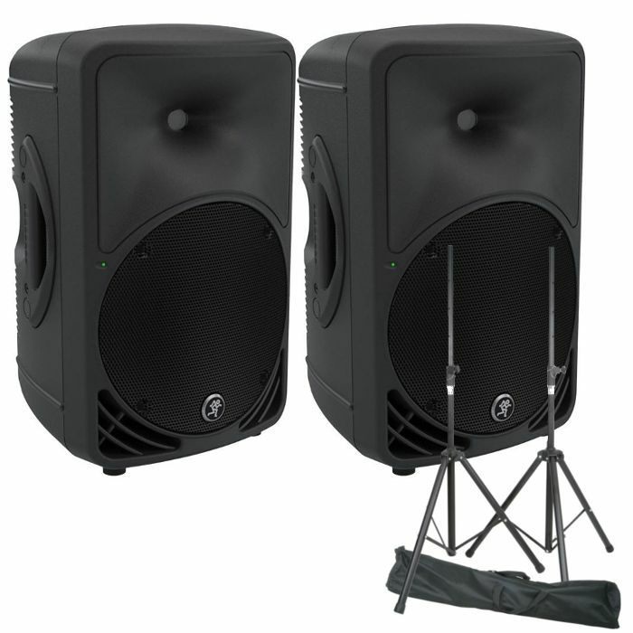 MACKIE/QTX - Mackie SRM350 V3 Active PA Speakers (pair, black) + Steel Speaker Stand Kit With Carry Bag