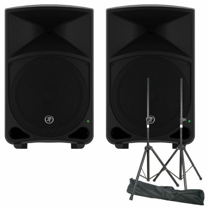 MACKIE/QTX - Mackie Thump 12 Powered PA Speakers (pair) + Steel Speaker Stand Kit With Carry Bag (pair) (REDUCED PRICE BUNDLE)