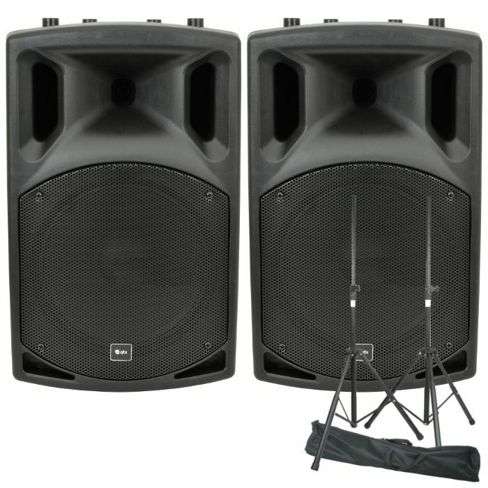 QTX - QTX QX12A Active PA Speakers (pair, 200W) + Steel Speaker Stand Kit With Carry Bag *REDUCED PRICE BUNDLE*