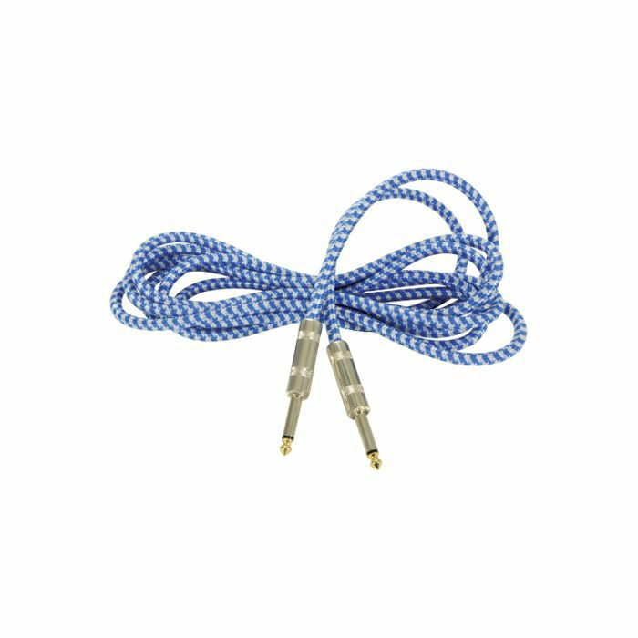 CHORD - Chord 6.3mm Jack Braided Guitar & Instrument Lead (blue & white, 3.0m)