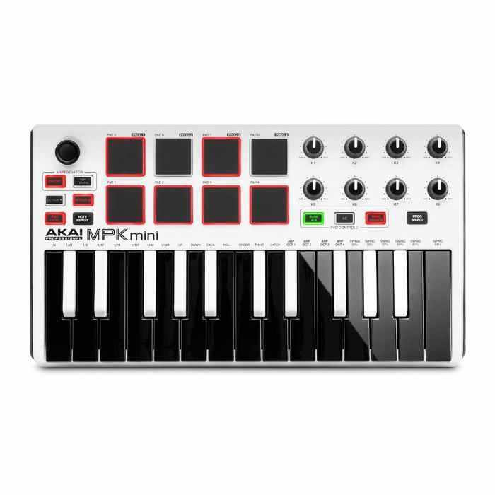 AKAI - Akai MPK Mini Mk2 Performance USB MIDI Pad & Keyboard Controller With Production Software Package (LIMITED EDITION WHITE VERSION)