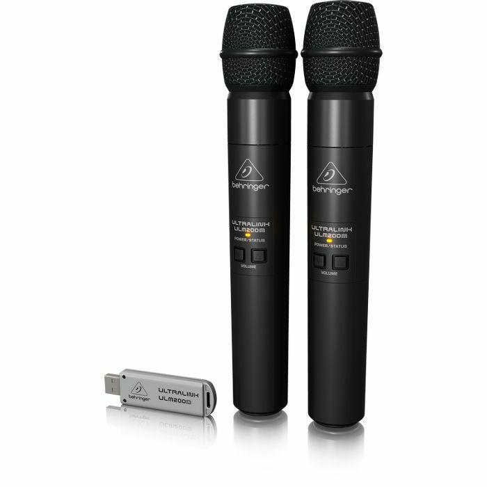 BEHRINGER - Behringer Ultralink ULM202 USB High Performance 2.4 GHz Digital Wireless System With 2 Handheld Microphones & Dual Mode USB Receiver
