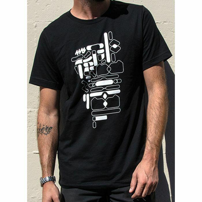 4MS - 4ms Black & White Shapes T Shirt (black, medium)