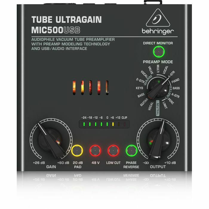 BEHRINGER - Behringer Tube Ultragain MIC500USB Audiophile Vacuum Tube Preamplifier