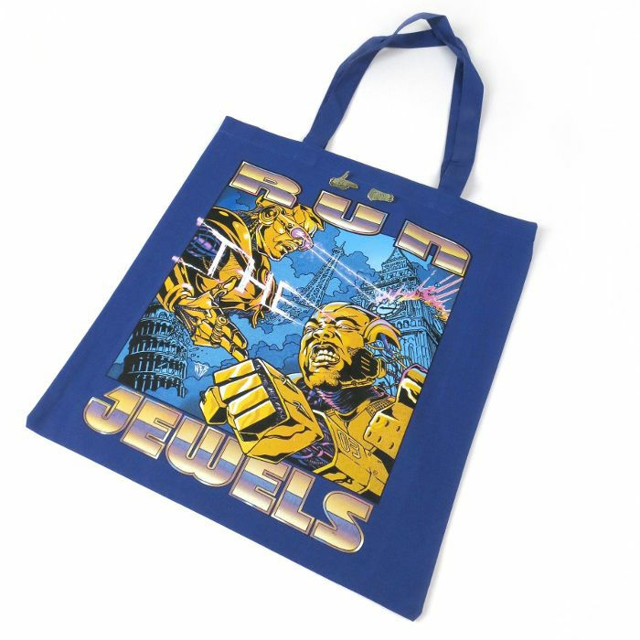 RUN THE JEWELS - Run The Jewels Tote Bag (Blue With Screen Printed Artwork) & Gold Pin Set