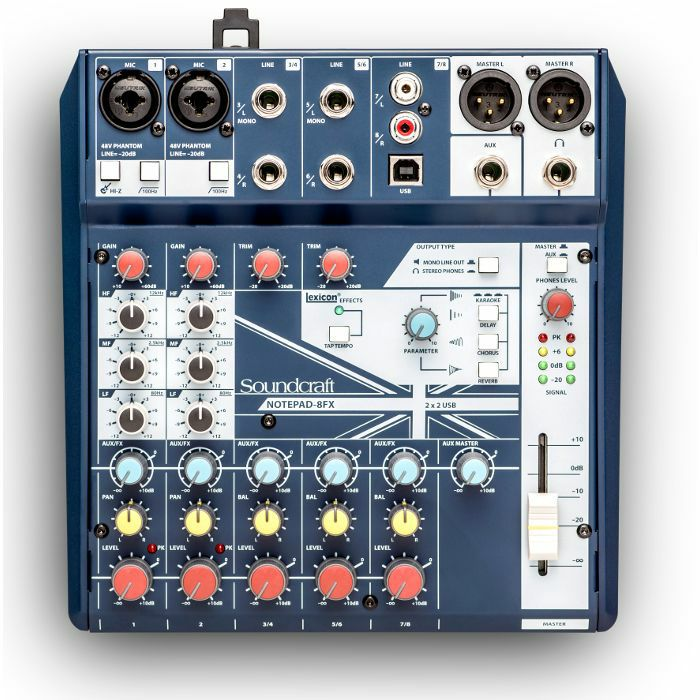 SOUNDCRAFT - Soundcraft Notepad 8FX Small Format Analog Mixing Console With USB I/O & Lexicon Effects