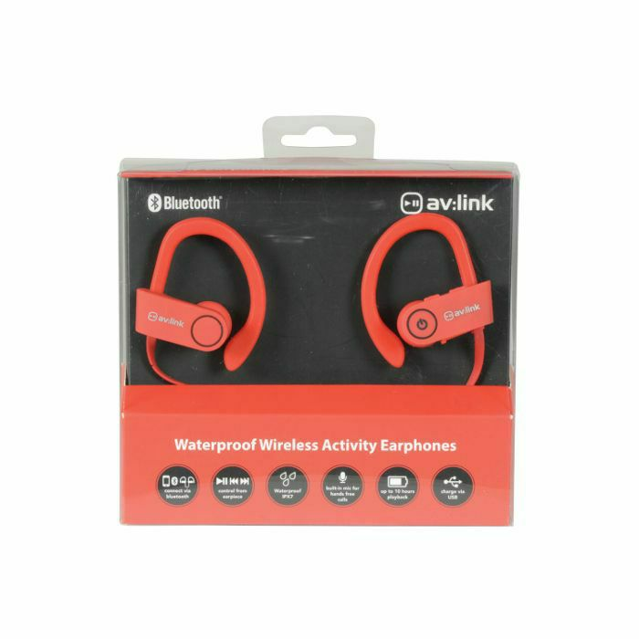 AV LINK - AV Link IPX7 Bluetooth Waterproof Wireless In Ear Headphones (red)