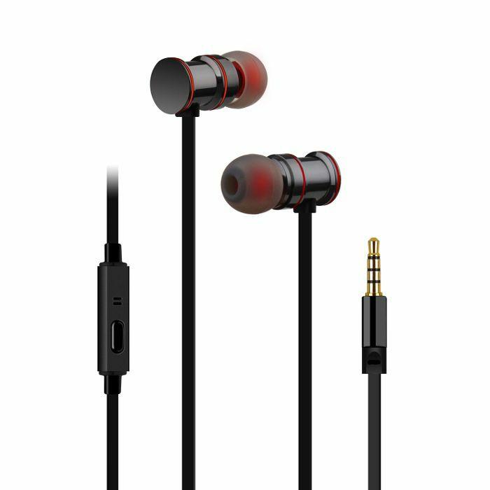 AV LINK - AV Link EMHF1 Metallic Magnetic Stereo Earphones (black & red)