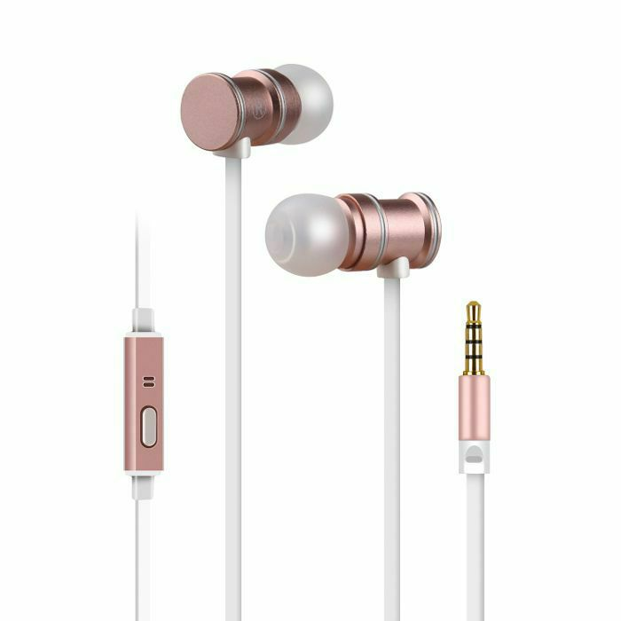 AV LINK - AV Link EMHF1 Metallic Magnetic Stereo Earphones (rose & white)